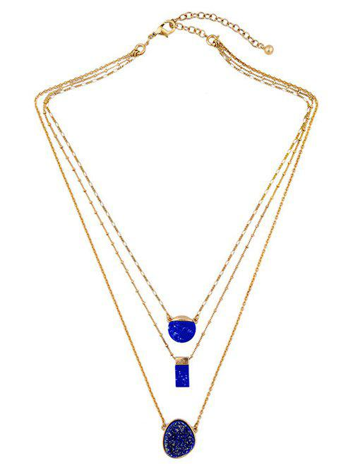 Layered Rectangle Faux Stone NecklaceJewelry<br><br><br>Color: DEEP BLUE