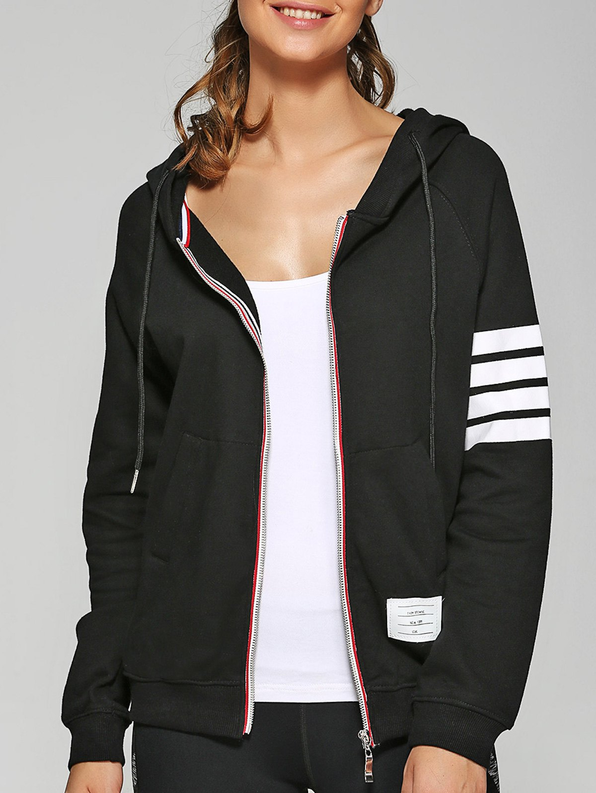Zip Up Hoodie With Pockets - BLACK S