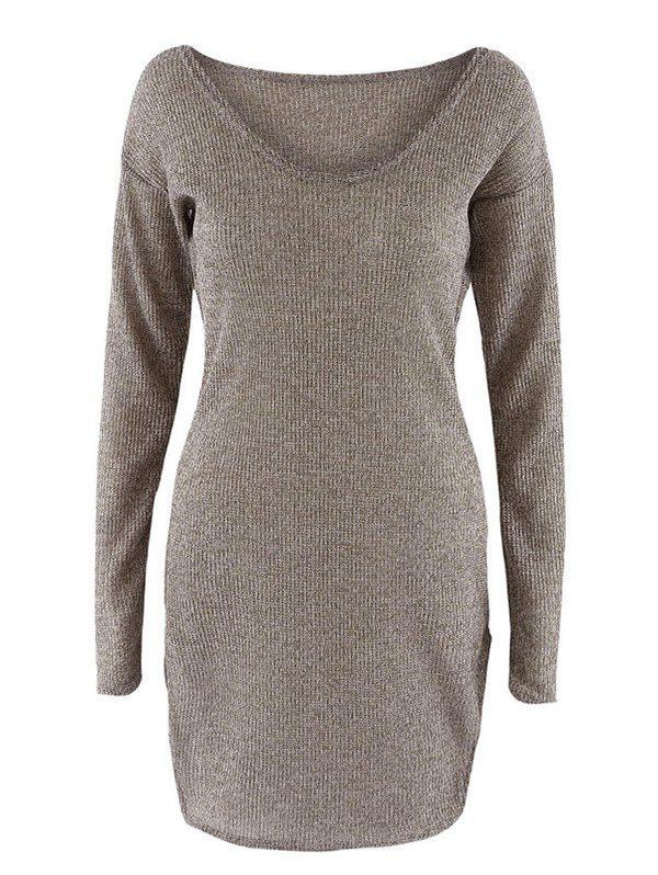 Scoop Neck Long Sleeve Knit Dress - BROWN XL