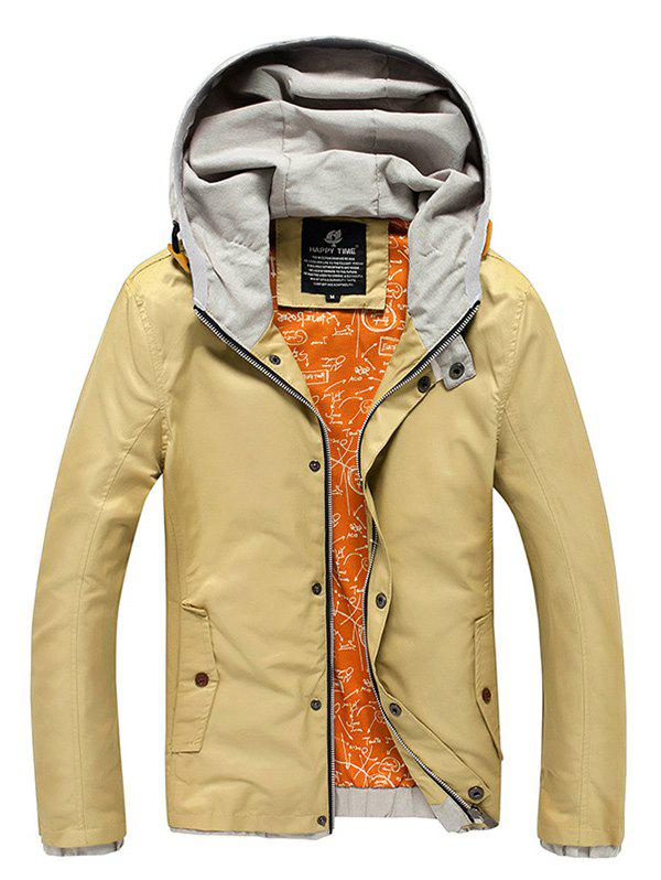 Color Block Spliced Hooded Zip-Up Jacket - KHAKI 2XL