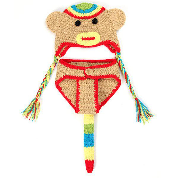 Crochet Pendant Hat Monkey Baby Photography Clothes Set - RED
