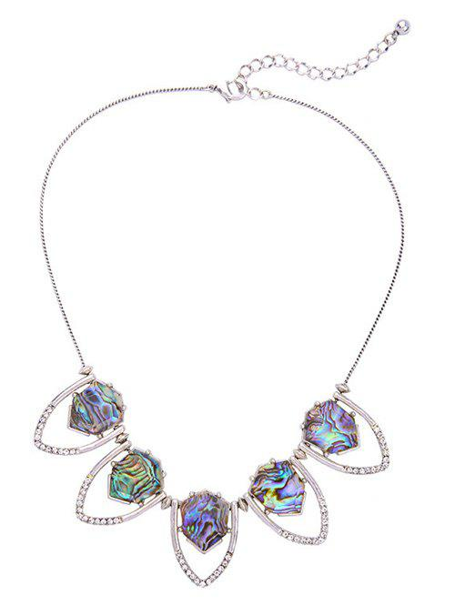 Rhinestone Faux Stone Geomrtric NecklaceJewelry<br><br><br>Color: SILVER
