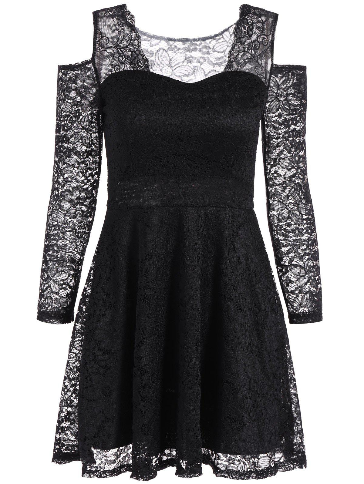 Cold Shoulder See Through Long Sleeve Lace Skater Mini Dress white see through crochet lace cold shoulder long sleeves dresses