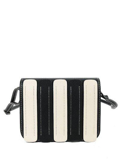 Covered Closure Color Spliced Stitching Crossbody BagBags<br><br><br>Color: BLACK