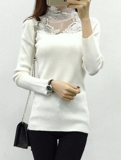 Butterfly Applique See-Through Spliced Knitwear - WHITE ONE SIZE