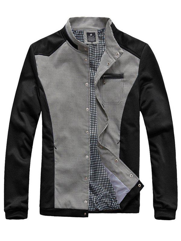 Checked Splicing Stand Collar Zipper Pocket Embellished Jacket - BLACK 3XL