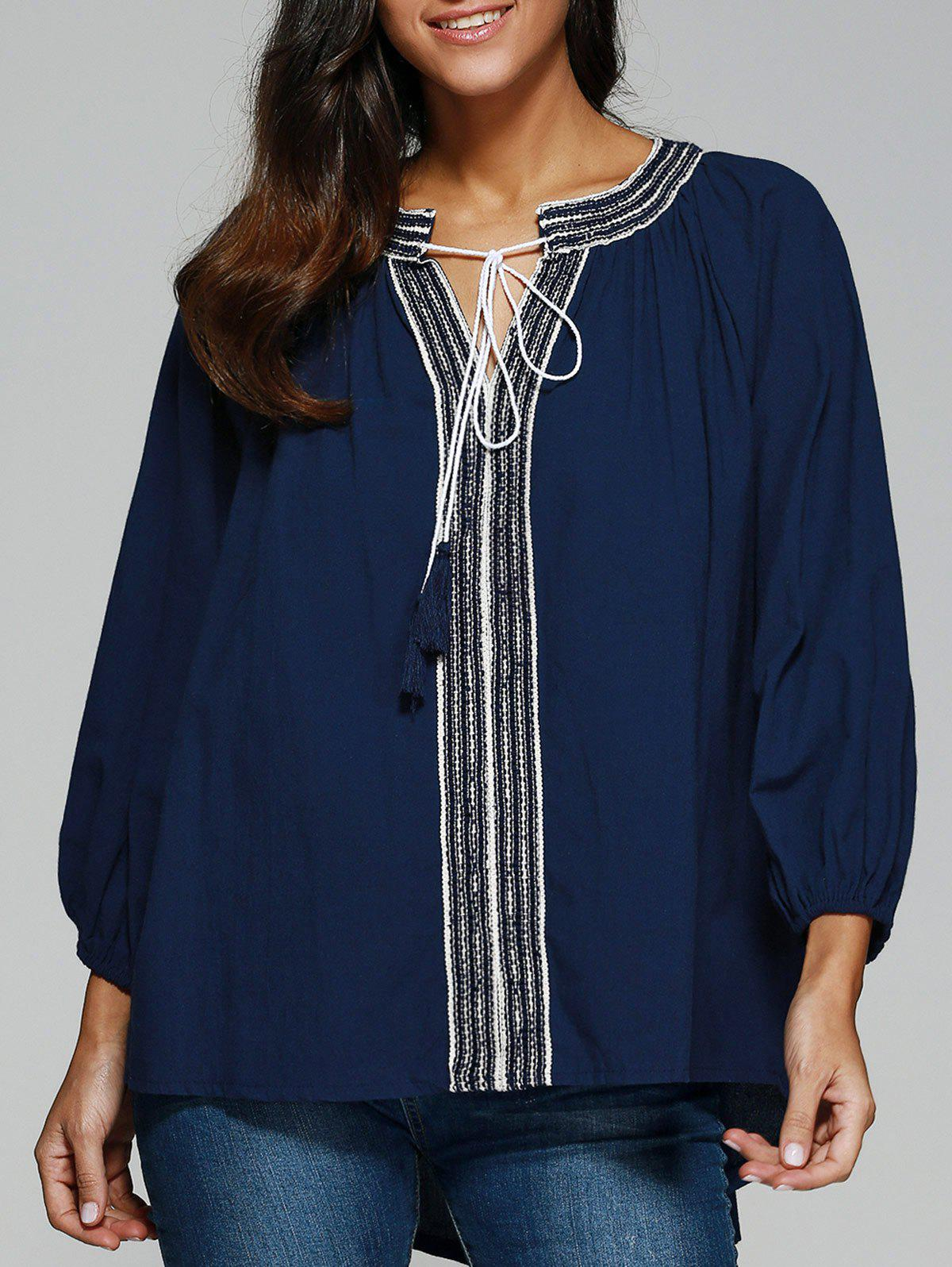 Ethnic Style High Low BlouseWomen<br><br><br>Size: ONE SIZE<br>Color: CADETBLUE