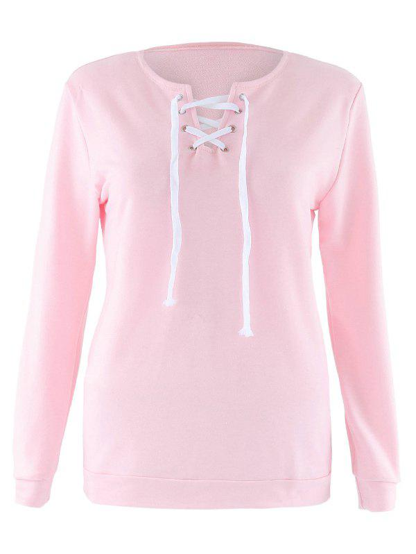 Lace Up long Sleeve Sweatshirt - ROSE PÂLE XL