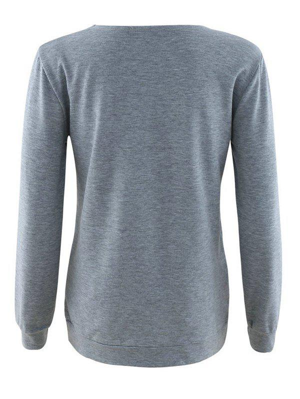 Lace Up long Sleeve Sweatshirt - gris XL