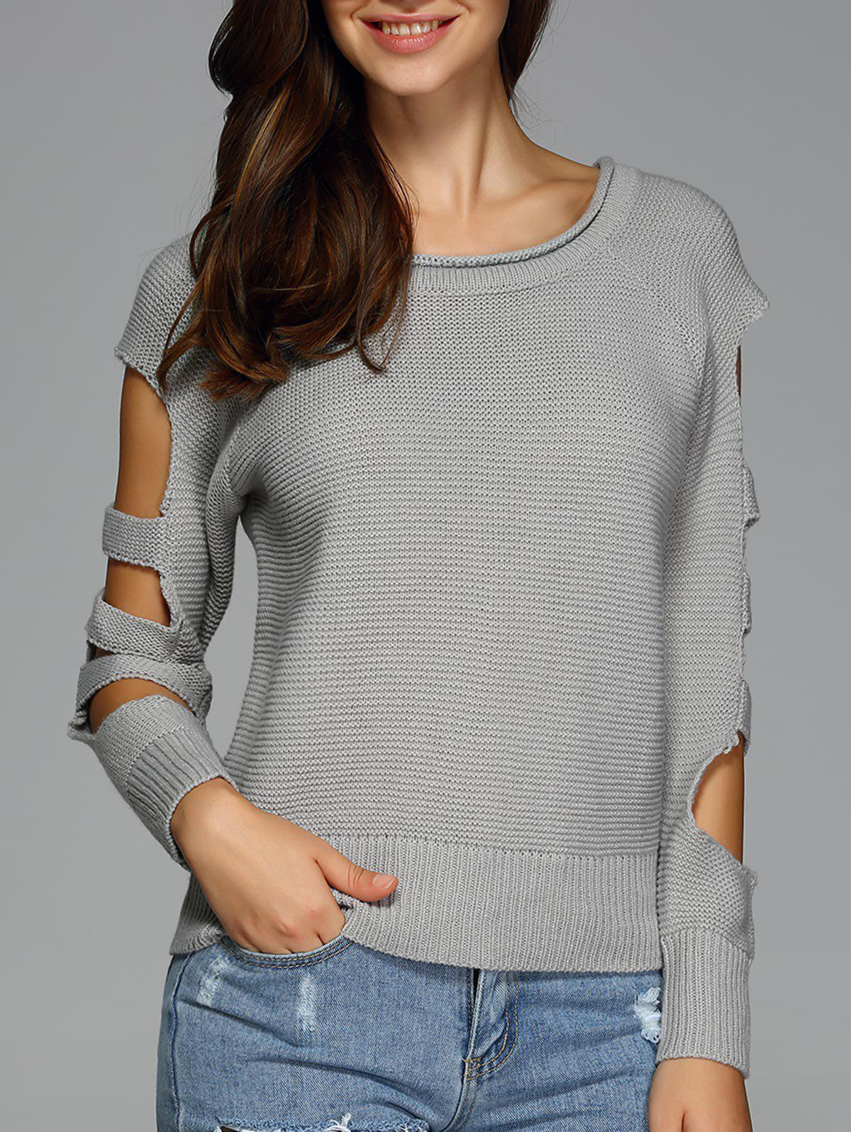Cut Out Sleeve Knitted Sweater от Dresslily.com INT