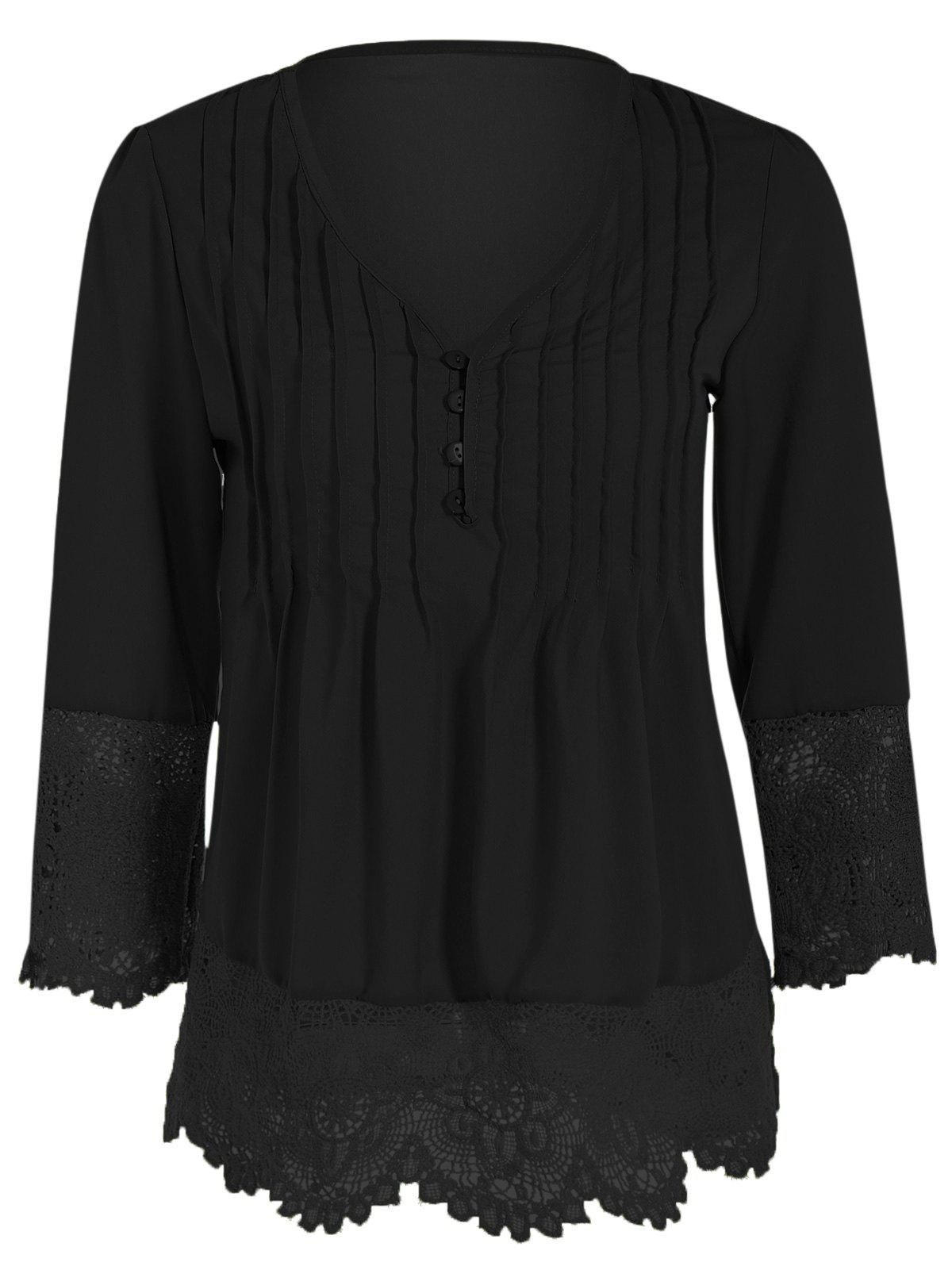 Buy Asymmetric Crochet-Trimmed Blouse BLACK