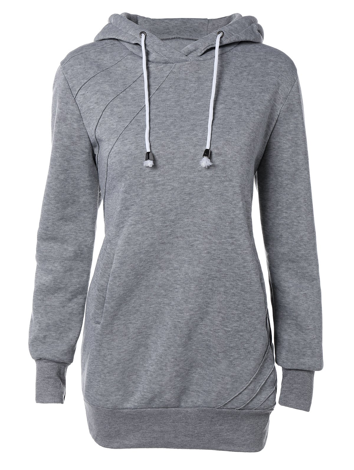 Pocket design Hoodie Drawstring - gris S