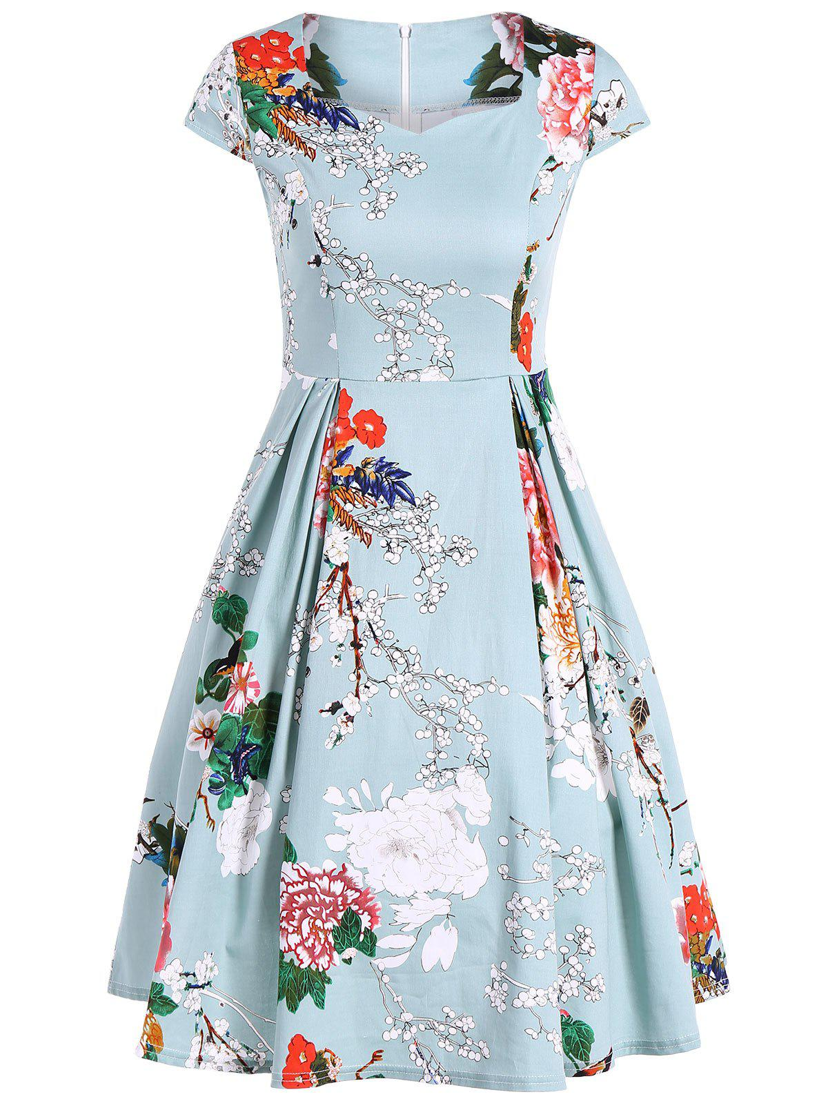 Vintage Swing Sweetheart Neck Floral Print Dress - LIGHT GREEN M
