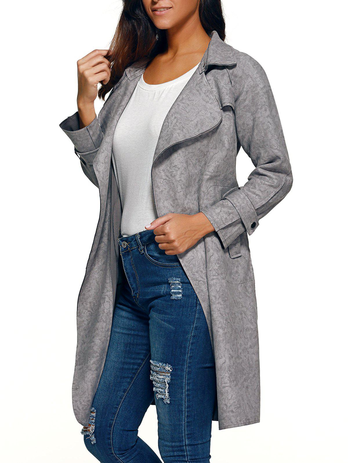 Belted Faux Suede Wrap Coat - GRAY M