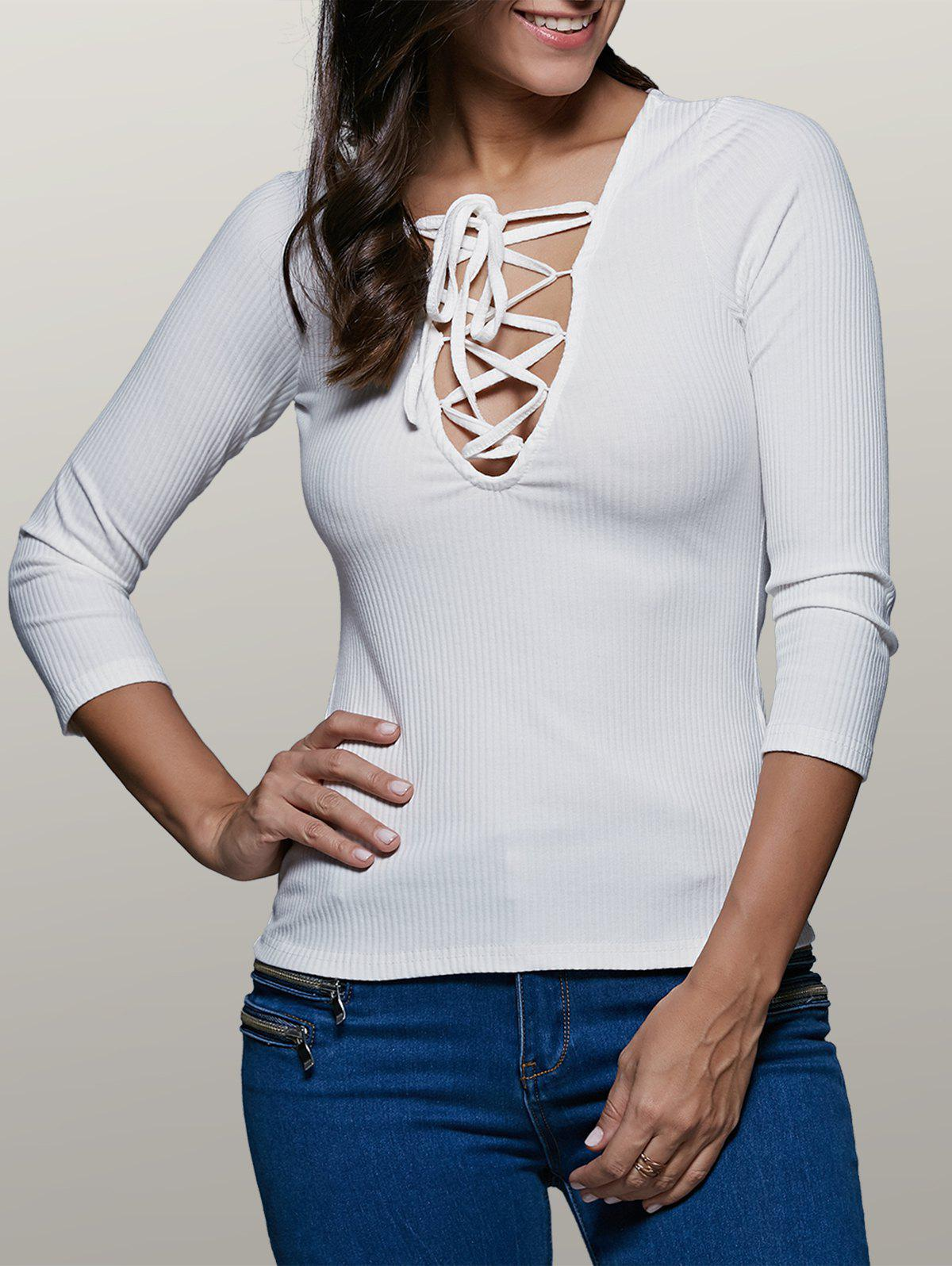 Plunging Neck Long Sleeve Front Lace-Up Stretchy T-Shirt v neck lace up front loose t shirt in navy