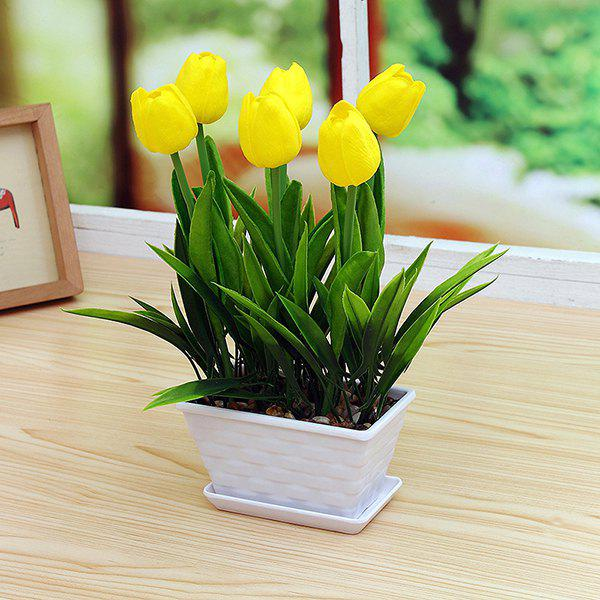 Home Decor PU Tulip Artificial Flower Bonsai - YELLOW