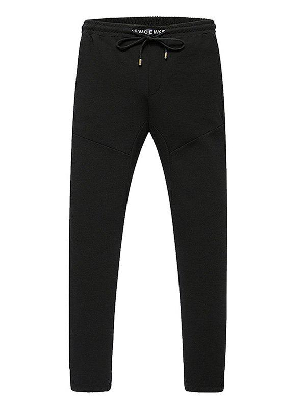 Lace-Up Narrow Feet Letters Edging Pants