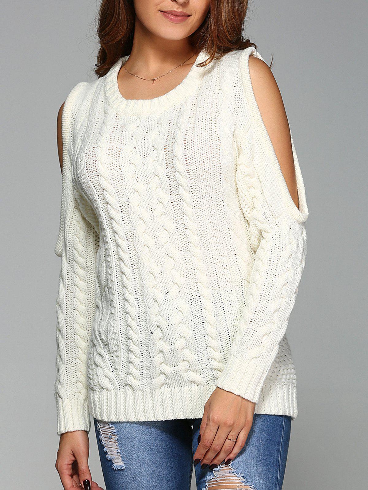 2018 Cold Shoulder Cable Knit Sweater OFF WHITE XL In Sweaters ...