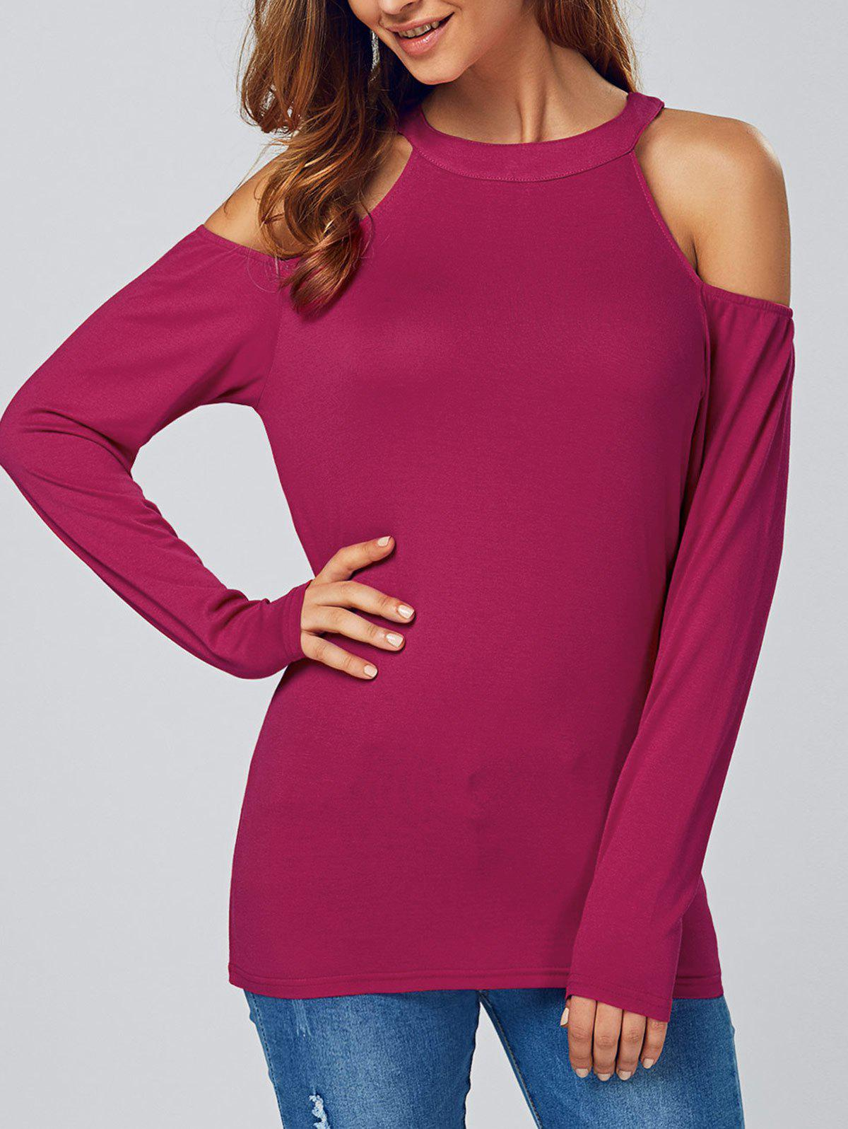 Open Shoulder Long Sleeve T-Shirt - ROSE RED XL
