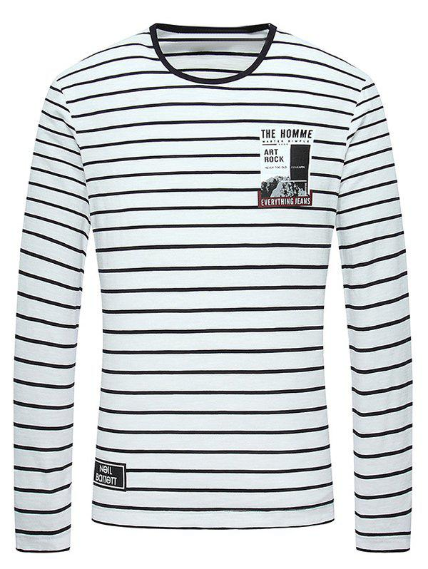 Long Sleeve Striped Printed Round Neck T-Shirt коврик в багажник jeep grand cherokee 2010