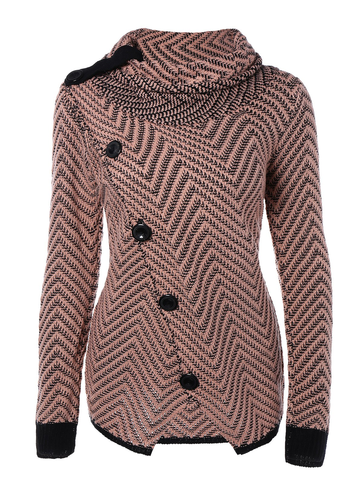 Roll Neck Long Sleeves Button Cardigan - COLORMIX S