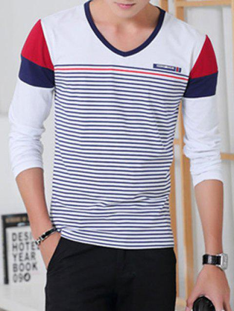 Color Splicing Striped Long Sleeve T-Shirt - WHITE L