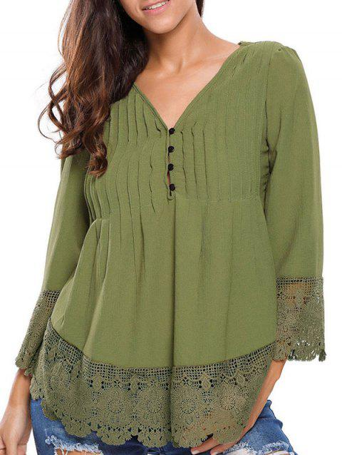 Lacework Splicing Single-Breasted Blouse - ARMY GREEN L