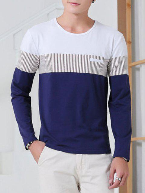 Striped Round Neck Color Splicing Long Sleeve T-Shirt - SAPPHIRE BLUE L