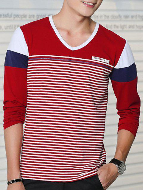 Color Splicing Striped Long Sleeve T-Shirt - WINE RED L