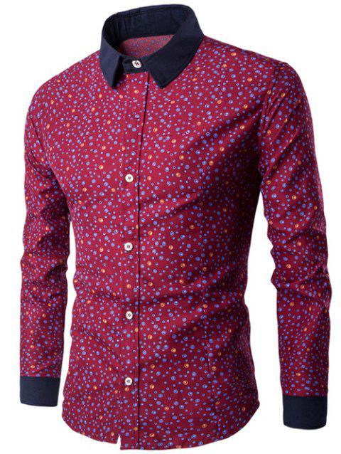 Bubble Print Long Sleeve Contrast Collar Shirt - WINE RED 2XL
