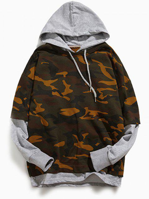 Long Sleeve Camouflage Pattern Faux Twinset Hoodie - LIGHT GRAY S