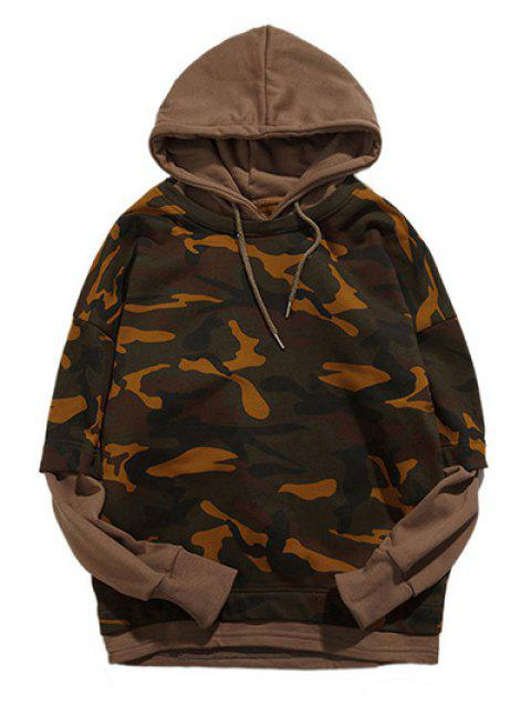 Long Sleeve Camouflage Pattern Faux Twinset Hoodie - DARK KHAKI 2XL