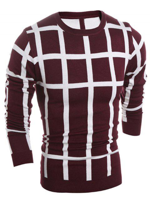 Crew Neck Slim Fit Plaid Sweater - WINE RED M