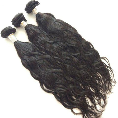 3 Pcs Pure Color 5A Remy Natural Wave Indian Hair Weaves - BLACK 10INCH*10INCH*12INCH