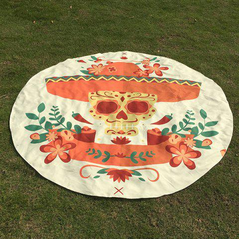 Motif Skull Flower festival Halloween plage ronde Throw - Blanc ONE SIZE