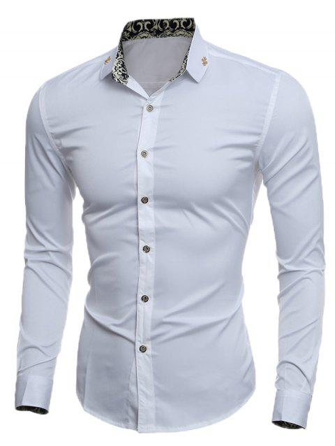 Slim Metal Embellished Long Sleeve Shirt - WHITE XL