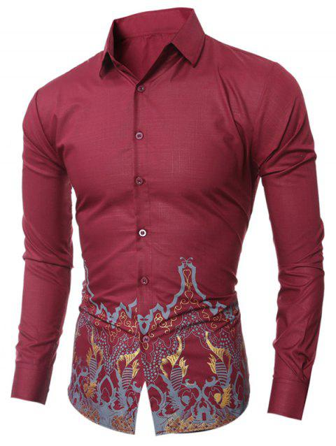 Vintage Printed Slim-Fit Shirt - WINE RED L