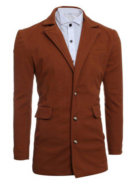 Simple Manteau Minceur Lapel De laine - Camel M