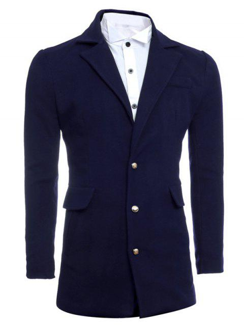 Simple Manteau Minceur Lapel De laine - Cadetblue 2XL