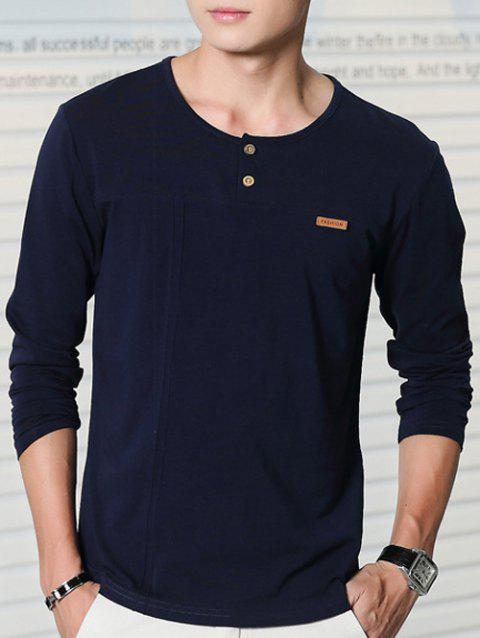Round Collar Long Sleeve Button Embellished T-Shirt - SAPPHIRE BLUE L