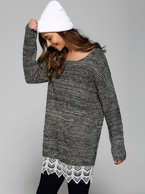 Heathered Lace Patchwork Sweater - GRAY ONE SIZE