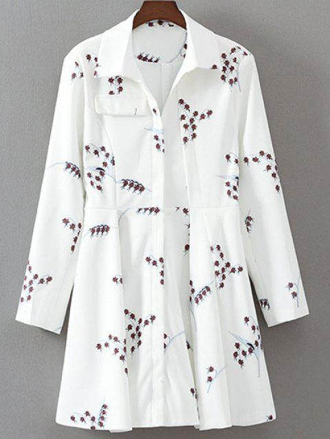 Long Sleeve Printed Robe évasée - Blanc M