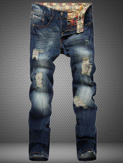 Cotton+Jeans Holes Design Bleach Wash Zipper Fly Denim Pants - BLUE 28