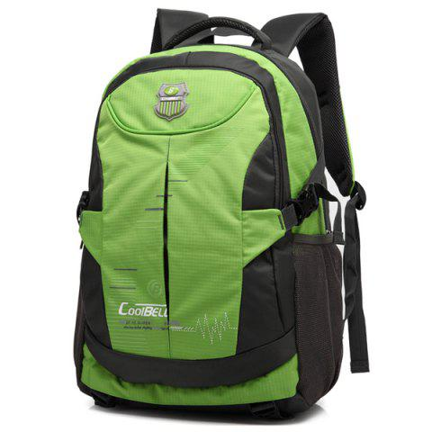 Zippers Nylon Color Spliced Backpack - GREEN