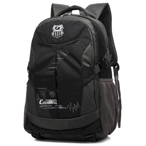 Zippers Nylon Color Spliced Backpack - BLACK