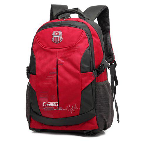 Zippers Nylon Color Spliced Backpack - RED