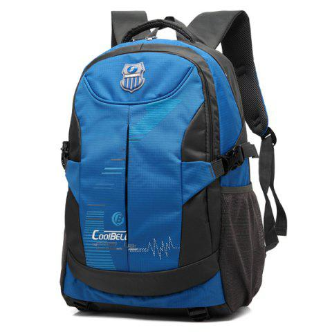 Zippers Nylon Color Spliced Backpack - BLUE