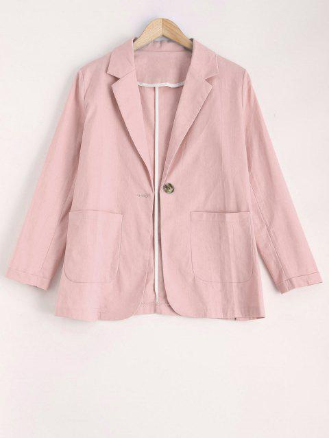2018 Col à revers One Button Blazer Rose L In Blazers Online Store ... 0f11f6881ad