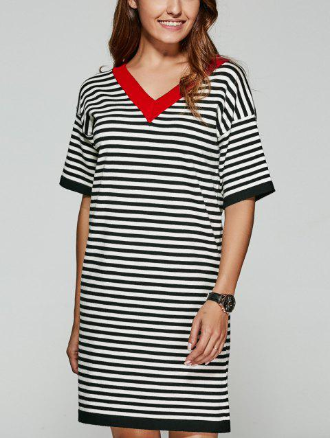 Back V Striped Knitted Dress - BLACK ONE SIZE