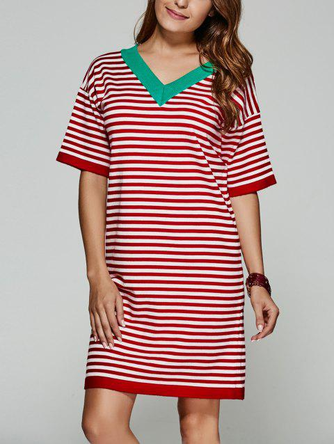Back V Striped Knitted Dress - RED ONE SIZE